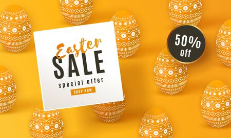 Happy Easter Sale banner. Beautiful template with painted yellow 3D eggs. 矢量图像