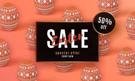 Happy Easter Sale banner. Beautiful template with painted coral 3D eggs.