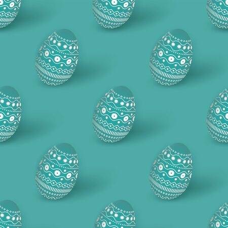Easter seamless pattern with 3d turquoise Easter eggs decorated with ornament