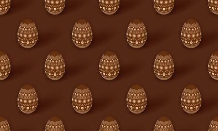 Easter seamless pattern with 3d chocolate Easter eggs decorated with ornament