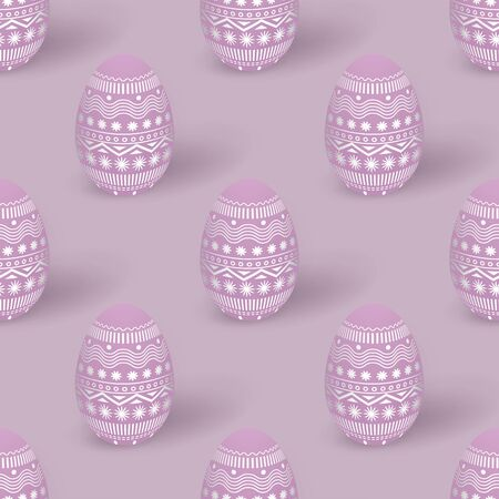 Easter light pink seamless pattern with 3d Easter eggs decorated with ornament