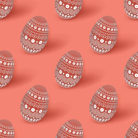 Easter coral seamless pattern with 3d Easter eggs decorated with ornament