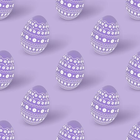 Easter lilac seamless pattern with 3d Easter eggs decorated with ornament