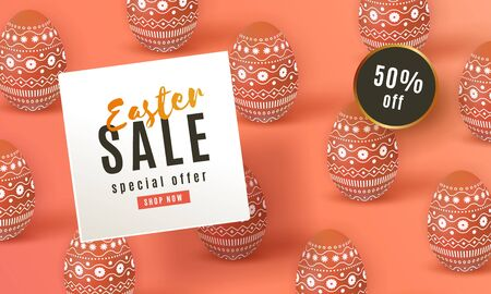 Happy Easter Sale banner. Beautiful template with painted coral 矢量图像