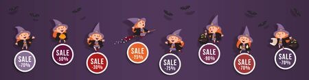 Halloween discounts set of round banners with cute witch and bats.