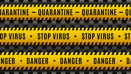 Stop virus, quarantine, danger, Covid-19 coronavirus. Black and yellow seamless warning tape, set of attention lines. Vector illustration