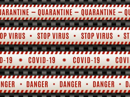 White red seamless warning tape of Covid-19