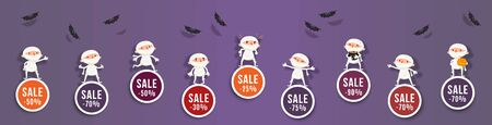 Halloween sale, discounts set of round banners with cute mummy and bats. Isolated vector clipart with amusing Halloween characters for festive sale design