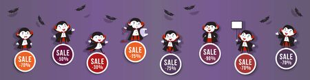 Halloween sale, discounts set of round banners with cute vampires and bats. 矢量图像