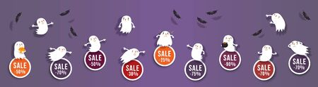Halloween sale, discounts set of round banners with cute ghosts and bats. Isolated vector clipart with amusing Halloween characters for festive sale design
