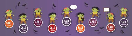 Halloween sale, discounts set of round banners with cute zombies and bats. Isolated vector clipart with amusing Halloween characters for festive sale design 矢量图像