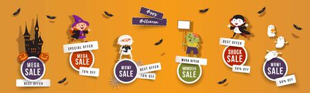 Halloween sale, discounts set of round banners