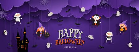 Happy Halloween banner trick or treat with night clouds, witch, vampire, ghost, bats, castle in paper cut style. Party invitation background with place for text. Vector illustration