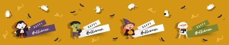 Hello Halloween, set paper cut banners with cute witch, vampire, ghost, zombie, mummy, bats. Isolated vector clipart with Halloween characters for festive design