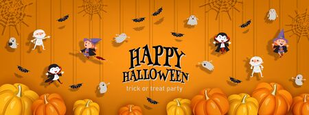 Happy Halloween orange banner trick or treat with witch, vampire, ghost, bats, pumpkin in paper cut style. Party invitation background with place for text. Vector illustration