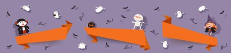 Hello Halloween, set paper cut banners with cute witch, vampire, ghost, mummy, bats. Isolated vector ribbons with Halloween characters for festive design 矢量图像