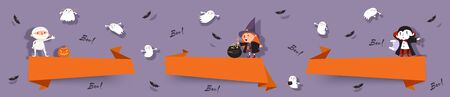 Hello Halloween, set paper cut banners with cute witch, vampire, ghost, mummy, bats. Isolated vector ribbons with Halloween characters for festive design Illustration