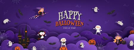 Happy Halloween banner trick or treat with night clouds, witch, vampire, ghost, bats, castle in paper cut style. Party invitation background with text. Vector illustration 矢量图像