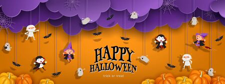 Happy Halloween orange banner trick or treat with purple clouds, witch, vampire, ghost, bats, pumpkin in paper cut style. Party invitation background with text. Vector illustration Иллюстрация