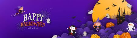Happy Halloween banner trick or treat with night clouds, witch, vampire, ghost, bats, castle in paper cut style. Party invitation vector horizontal background