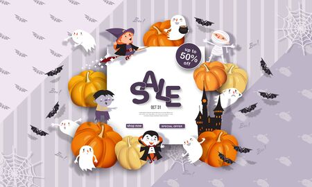 Halloween Sale Banner with Witch, Vampire, Ghost, Bat, Zombie, Pumpkin in paper cut style. Square frame. Promotion Poster background. Vector Illustration