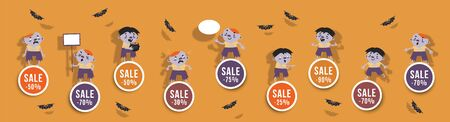Halloween sale set of round banners with cute zombie and bats. Isolated vector clipart with amusing Halloween characters for festive discounts design