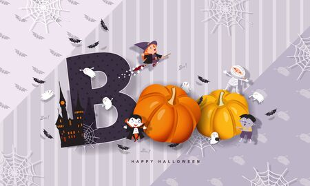 Halloween Boo, funny inscription with pumpkins, witch, mummy, zombie, vampire, castle, bats, ghost. Vector illustration with Halloween characters.