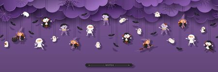 Halloween Seamless Border with Witch, Vampire, Ghost, Bats, Zombie, Mummy in paper cut style. Trick or treat Concept. Halloween design element. Vector Illustration 矢量图像
