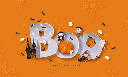 Halloween Boo, funny inscription with pumpkins, witch, mummy, zombie, vampire, castle, bats, ghost. Vector illustration with Halloween characters