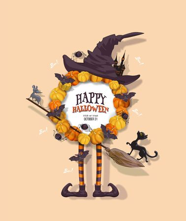 Halloween wreath with pumpkins, hat, witch legs, black cat, bats, spiders, castle, broom. Halloween festive design element with place for text. Vector illustration