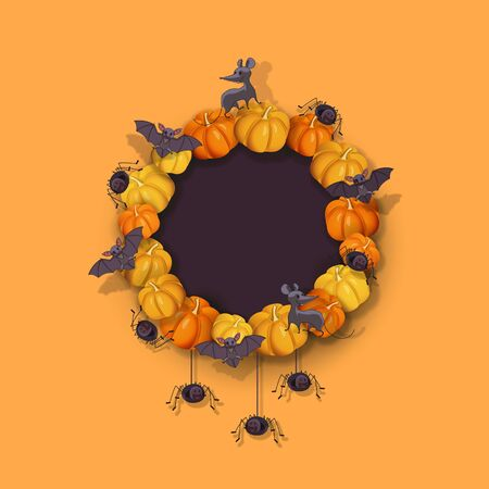 Halloween wreath with pumpkins, bats, spiders, rat. Halloween festive design element with place for text. Festive wreath to decorate the door. Vector illustration