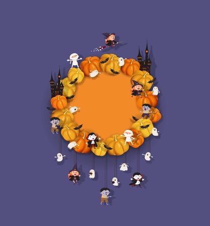 Halloween Wreath with Pumpkins, Bat, Witch, Vampire, Ghost, Zombie, Mummy, Castle. Halloween festive design element with place for text. Festive vector wreath to decorate the door