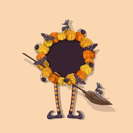 Halloween wreath with pumpkins, witch legs, bats, spiders, rat, broom. Halloween festive design element with place for text. Vector illustration
