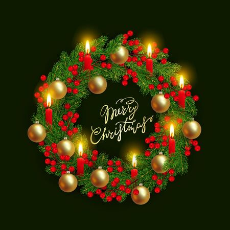 Christmas wreath of realistic Christmas tree branches, golden balls, lighted candles and holly berries Element for festive design