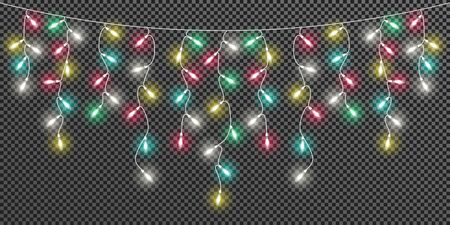 Glowing light colorful bulbs Christmas and New Year. Realistic retro garland isolated on transparent background. Xmas decorations for festive design of postcard, banner, poster, website. Vector design