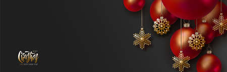 Christmas black background with 3d red Christmas balls and golden snowflakes and place for text. New year horizontal stylish banner with decorations