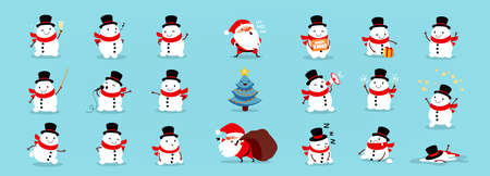 Snowmen Santa Claus and Christmas tree, big Christmas and New Year set. Large collection of funny cartoon characters with different emotions and situations. Isolated vector illustration