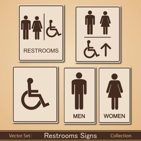 화장실 표지판의 벡터 컬렉션 일러스트