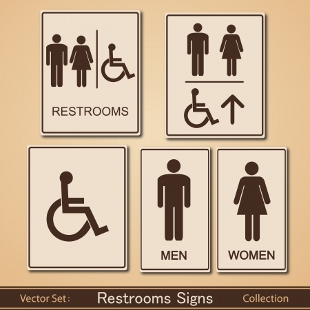 toilet sign: Restroom Signs Vector Collection