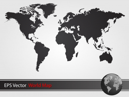 Black World Map Illustration Vector