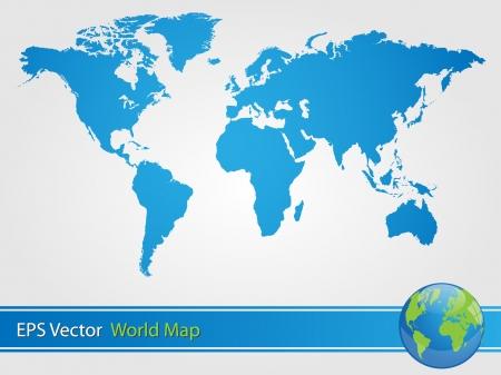 Blue World Map Illustration Banco de Imagens - 25280478