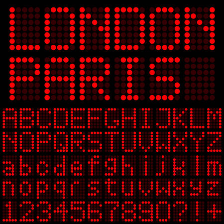 Red LED Letters and Numbers