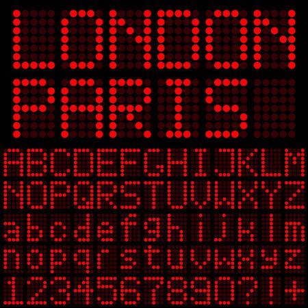 레드 LED 문자 및 숫자 일러스트