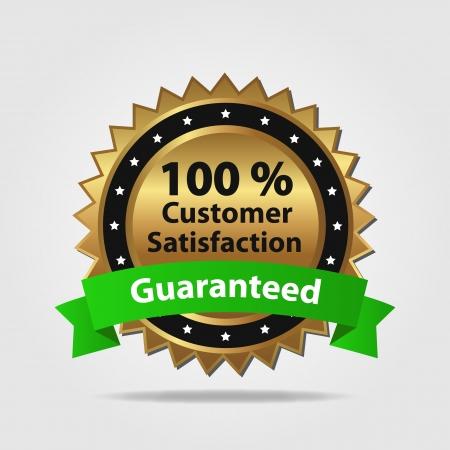 Grün und Gold Customer Satisfaction Guaranteed auf einem weißen Hintergrund Standard-Bild - 25280487