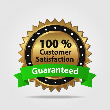 feedback label: Green and Gold Customer Satisfaction Guaranteed isolated on a white background