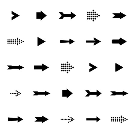 Black arrows vector set on a white background
