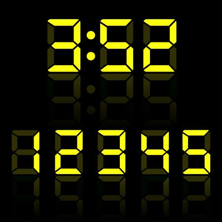노란색 시계 숫자 그림