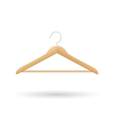Wooden hanger vector illustration isolated