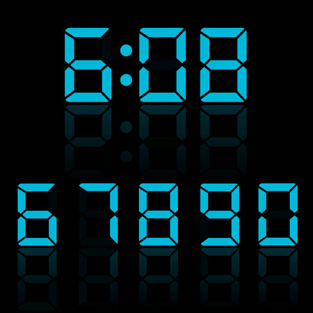 display type: Blue clock digits illustration