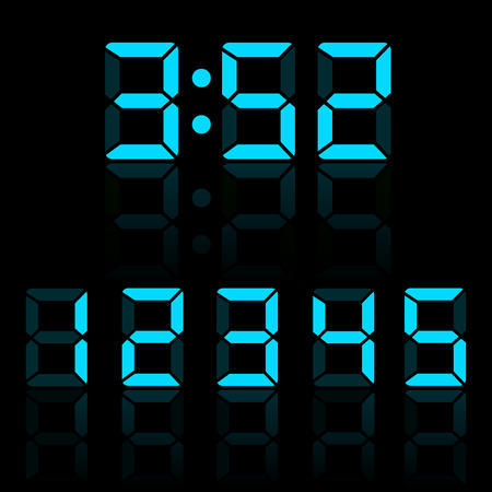 display type: Blue clock digits illustration
